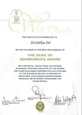 "Duke Of Edinburgh's Award Certificate To ""Sri Sathya Sai"""