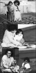 Sudha Raghunathan As A Child With Bhagavan Sri Sathya Sai Baba