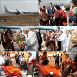 President Of India Smt Pratibha Devisingh Patil Visits Sathya Sai Baba At Prashanti Nilayam