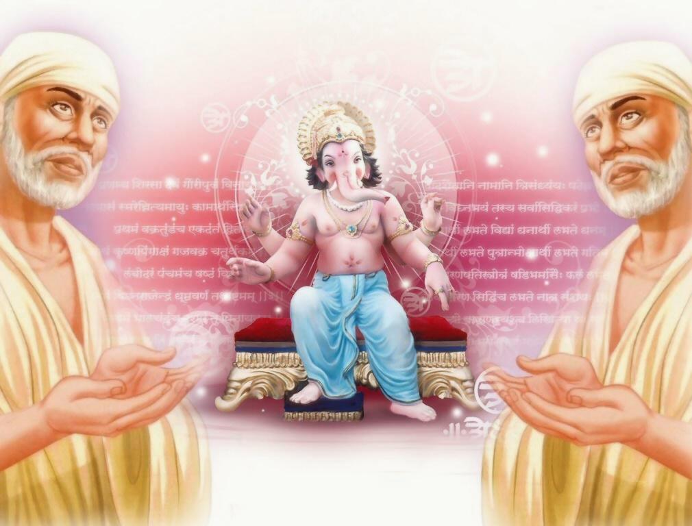Sai Baba Wallpaper With Ganesha